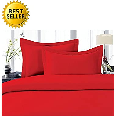 Elegant Comfort 1500 Thread Count Luxury Egyptian Quality Wrinkle and Fade Resistant 4-Piece Sheet Set, Queen, Red