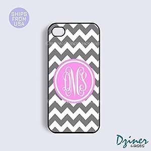 Monogram iPhone 5 5s Case - Grey White Chevron Pink Circle iPhone Cover