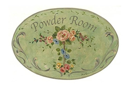 The Stupell Home Decor Collection Powder Room Green Floral Oval Bathroom Wall Plaque from The Stupell Home Decor Collection