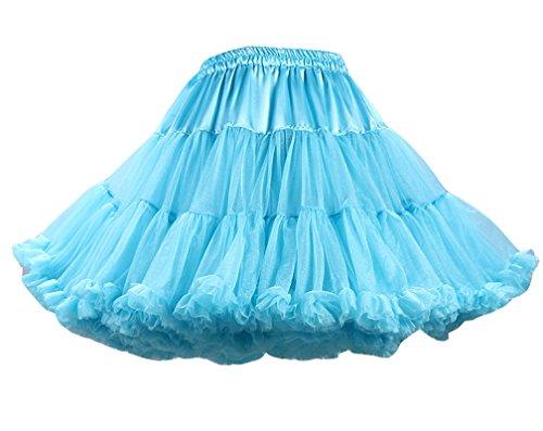 Femme Vintage Petticoat Jupe Courte Underskirt Rockabilly Petticoat en Tulle Rock Peacock Bleu