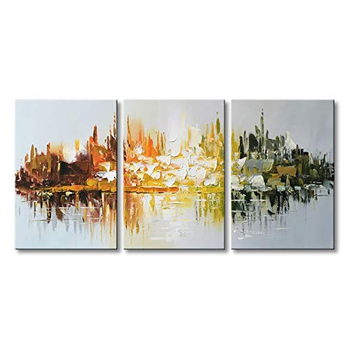 Winpeak Art Hand-Painted Abstract Canvas Wall Art Modern Landscape Oil Painting for Living Room Contemporary Artwork Decor Hanging Framed Ready to Hang (48'' W x 24'' H (16''x24'' x3pcs)) by Winpeak Art