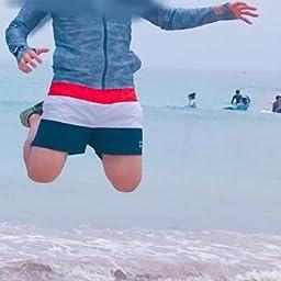 Amazon Taotech 水着 メンズ サーフパンツ ゴムウエスト 海パン 水陸両用 速乾 ショートパンツ M 4分丈 ブルー ショートパンツ 通販