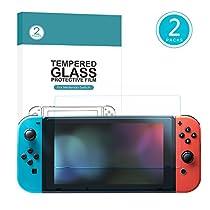 Nintendo Switch Screen Protector Tempered Glass, Kupton Anti-Fingerprint Bubble Free HD Screen Protective Switch Screen Protector for Nintendo Switch [2-Pack]