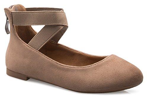 Nubuck Beige Kids Shoes (OLIVIA K Girls Elastic Cross Strap Slip On Sandal - Comfortable Closed Toe Ballet Flats - Low Ankle Strap Shoe)