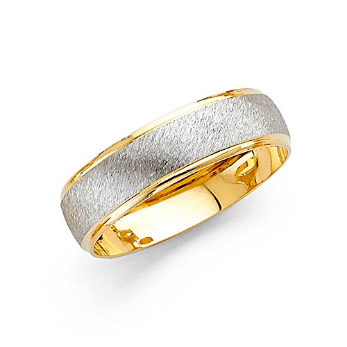 Wedding Band Solid 14k Yellow White Gold Ring Brushed Satin Polished Finish Two Tone Fancy 6 mm Size 10 by ZenJewels