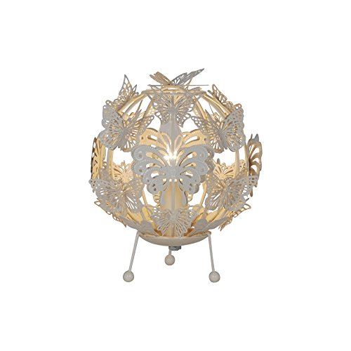 Shabby Chic Cream Gloss Butterfly Ball Table Lamp Light Bedroom Or - Shabby chic table lamps for bedroom