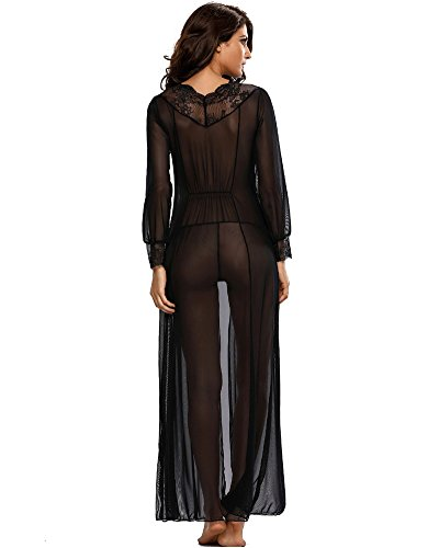 2b51c211db5 Romacci Women s Sexy Sheer Lace Long Robe Lingerie Underwear Sleepwear  Gowns with Thong