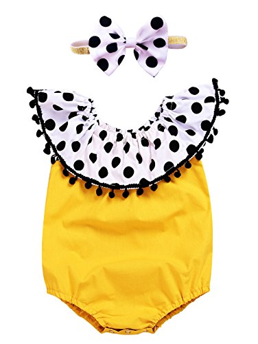 AlwaysFun Baby Girl's Lotus Leaf Collar Black Dots Tassels Ruffles Bodysuit Romper Dresses With Bunny Bowknot Headband Summer Clothing Outfits Set (Yellow, 80(3-6Months))