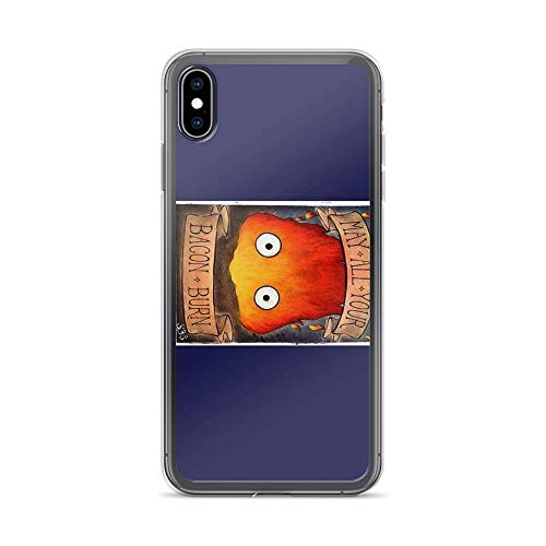 iPhone Xs Max Case Clear Anti-Scratch Howl's Moving Castle Illustration - Calcifer (Original), Studio Ghibli Cover Phone Cases for iPhone Xs Max, Crystal Clear