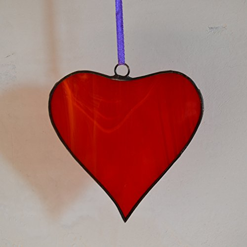 Red Heart Ornament made of Stained glass Romantic Gift to say I love you by ZangerGlass
