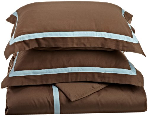Superior 300 Thread Count 100% Cotton, Hotel Collection, Single Ply,  King/California King Duvet Cover Set, Mocha with Sky Blue ()