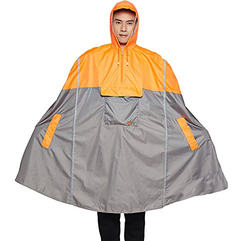 Liveinu Adult Rain Poncho Unisex Emergency Rainwear With Matching Pouch Orange