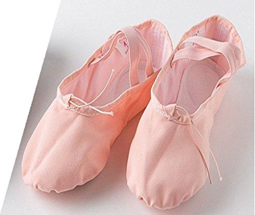 もつれぬれた複合【Mon】バレエ シューズ 総キャンバス スプリットソール バレエシューズ クロスゴム ピンクとブラック 16~26cm からお選びください