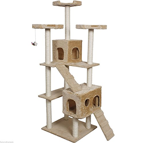 73″ Cat Kitty Condo Tree Pet Scratching Post Furniture Home, Beige 41WYIRdE7gL