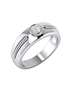 Voylla Contemporary Sterling Silver Mens Ring With CZ
