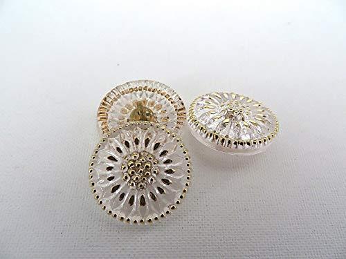1 Clear Gold Daisy Sun Czech Glass Button ()