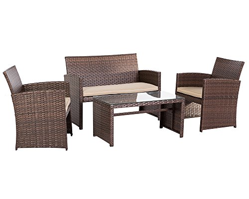Suncrown Outdoor Furniture Wicker Conversation Set Glass
