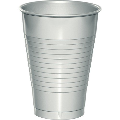Creative Converting 28106081 Shimmering Silver Plastic Cups, 16 Oz Solid (12pks Case)