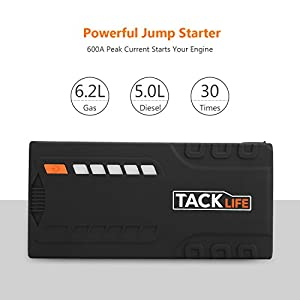 Tacklife 600A Peak 12V Car Jump Starter ( up to 6.2L Gas, 5.0L Diesel Engine), Power Pack Battery Booster, Portable Power Bank with Female Cigarette Lighter Adapter & Smart Jumper Cables