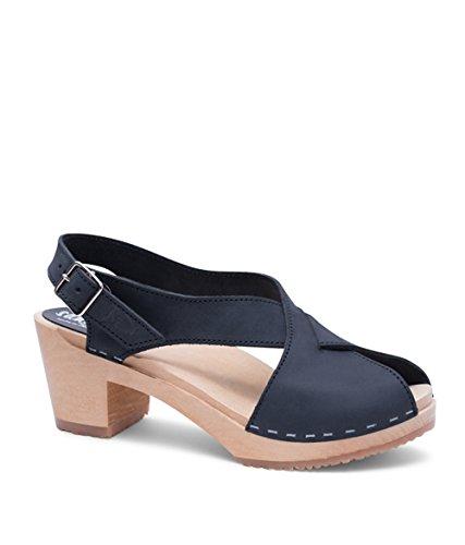 Sandgrens Swedish High Heel Wood Clog Sandals for Women | Morocco Black, EU 37 ()