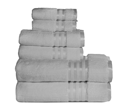 Casa Lino -Premium Quality Zero Twist, Air Soft, 6 Piece towel set, 2 Bath towels, 2 Hand Towels 2 Washcloths, Machine washable, Hotel quality, Towel Gift Set- Dove Cotton collection (Bath Set Case)