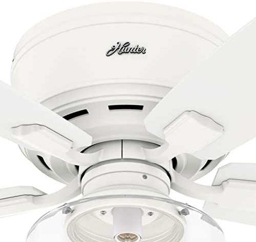 Hunter Fan 52 inch Low Profile Matte White Indoor Ceiling Fan with Light Kit and Remote Control Renewed