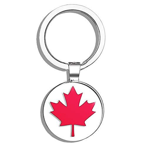 HJ Media Maple Leaf Shaped (Canada Canadian Flag Logo).5 Metal Round Metal Key Chain Keychain Ring