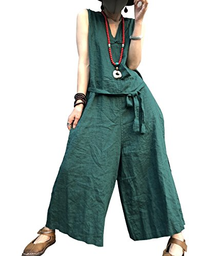 YESNO PL3 Women Casual Loose Overalls Jumpsuits 100% Linen Chinese Traditional Frogs Wide Leg (Frog Overall)