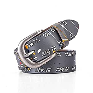 Rivet Inlay Women's Fashion Casual Leather Belt. (Color : Grey)