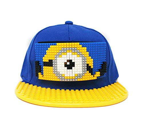 (Superheros Toy Building Bricks Block Baseplate Snapback Hat Major Brand Compatible for Adults and Kids (Stuart - Blue/Yellow))