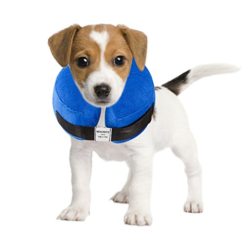 - BENCMATE Protective Inflatable Collar for Dogs and Cats - Soft Pet Recovery Collar Does Not Block Vision E-Collar(Small)