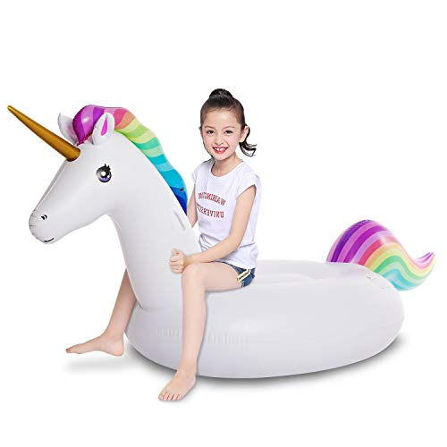 (Jasonwell Big Inflatable Unicorn Pool Float Floatie Ride On with Rapid Valves Large Rideable Blow Up Summer Beach Swimming Pool Party Lounge Raft Decorations Toys Kids)