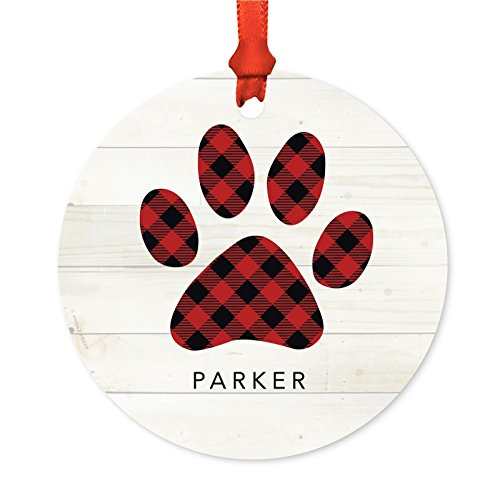 Andaz Press Personalized Family Christmas Ornament, Metal, Red Plaid Dog Cat Pet Pawprint, 1-Pack, Custom, Includes Ribbon and Gift Bag, Xmas New Puppy Kitten Present Ideas (Ornament Christmas Personalized Dog)