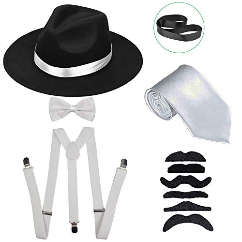(Men's Roaring 1920s Set Manhattan Fedora Hat,Y-Back Suspenders & Pre Tied Bow Tie, Gangster Tie & Fake Mustache (OneSize, Blackhat &)
