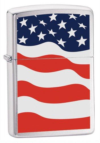 Zippo American Flag Brushed Chrome Pocket -