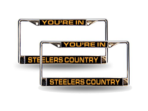 - Rico Pittsburgh STEELERS COUNTRY Chrome Metal (2) Laser Cut License Plate Frame Set