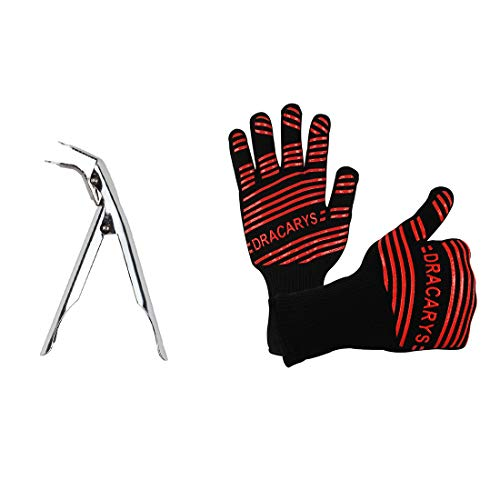Smoking Tool Set Grill Grate Lifter Gripper Oven Glove Heat Resistant,Grill Cooking Gloves grill heat aid gloves For Big Green Egg,Napoleon Gas Grill,Weber Kettle Grill Smokey Joe Parts ()