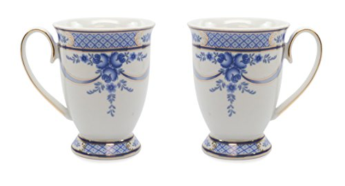 Royalty Porcelain 2-pc Mug for Tea or Cofee, 24K Gold, Fine Bone China Porcelain (Floral Cobalt -