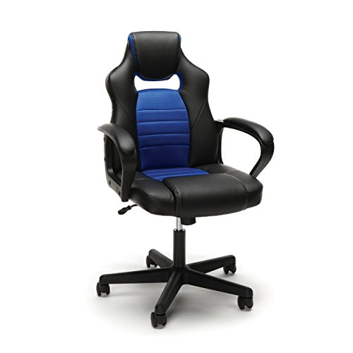 Essentials Gaming Chair - Racing Style Ergonomic Mesh and Leather Computer Chair, Blue (ESS-3083-BLU) by OFM