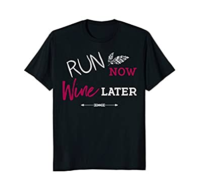 Funny Workout Shirt Women Run Now Wine Later Fitness Gift