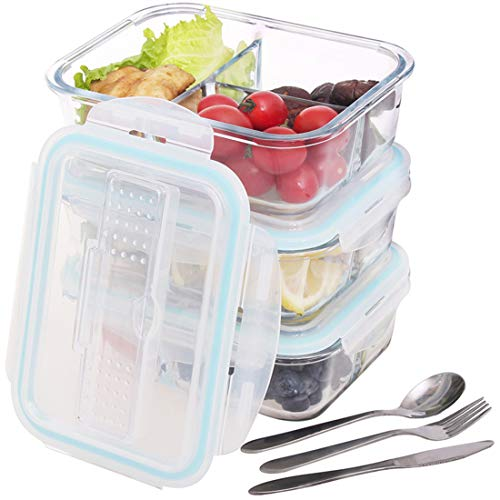 (3 Compartment Glass Food Storage Containers with Locking Lids, 304 Stainless Steel Utensils for Home, Kitchen, Working, School or Outdoor Picnic - BPA Free - Oven/Microwave/Freezer/Dishwasher)