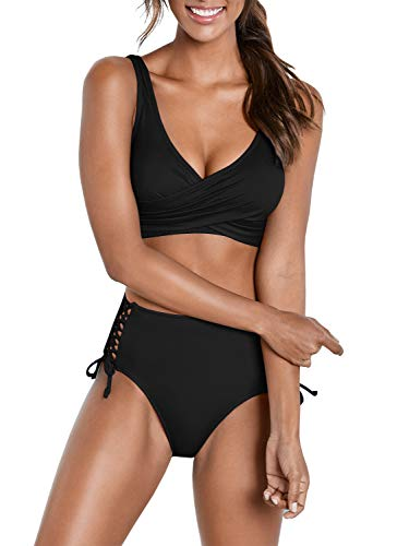 (Yacooh Womens High Waisted 2 Piece Bikini Set Bandage Criss Cross Lace Up Cutout Wrap Solid Color V-Neck Swimsuit Black)