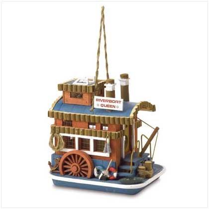 Gifts & Decor Riverboat Queen Outdoor Wooden Bird House/Feeder
