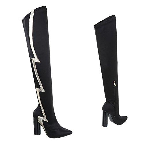 Schwarz Bequeme Boots Stiefel 1 Overknee Gogostiefel Partystiefel Trendy Schuhe Modell Nr Stiefel High Damen Heels Langschaft Schnürstiefel qapBPWxw