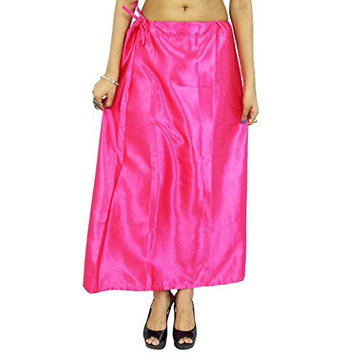 Satén de seda india de Bollywood enagua Inskirt sólido Forro Para Sari Ropa Magenta
