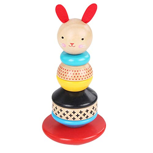 ErYao Rabbit Wooden Ring Stacking Toy Stacking Tower Tumbler for Baby, Wood Stacker Learning Toy for Kids, Sort and Stack Tower for Baby Infant Toddler Children Developmental Toys (Colorful)