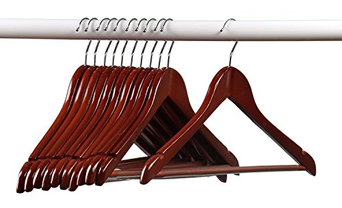 Home-it (24 Pack Solid Wood Clothes Hangers, Coat Hanger Cherry Wooden Hangers