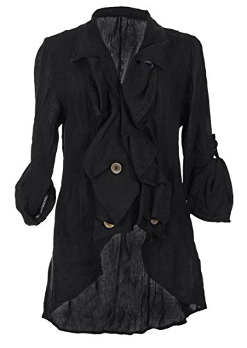 TEXTURE Ladies Womens Italian Lagenlook Button Waterfall Linen Jacket One Size (Black, One Size)