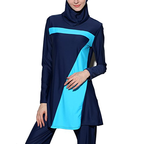 Zhhlaixing Muslims Swimwear Women Modest Full Cover Traje de baño Beachwear Girls Hijab Costume S-4XL Blue