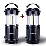 LED Camping Lantern - VIBELITE LED Collapsible Portable Outdoor Lantern with Flashlight, Black (Pack of 2)